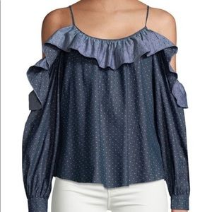 Parker Chambray Polka Dot Ruffle Cold Shoulder Top